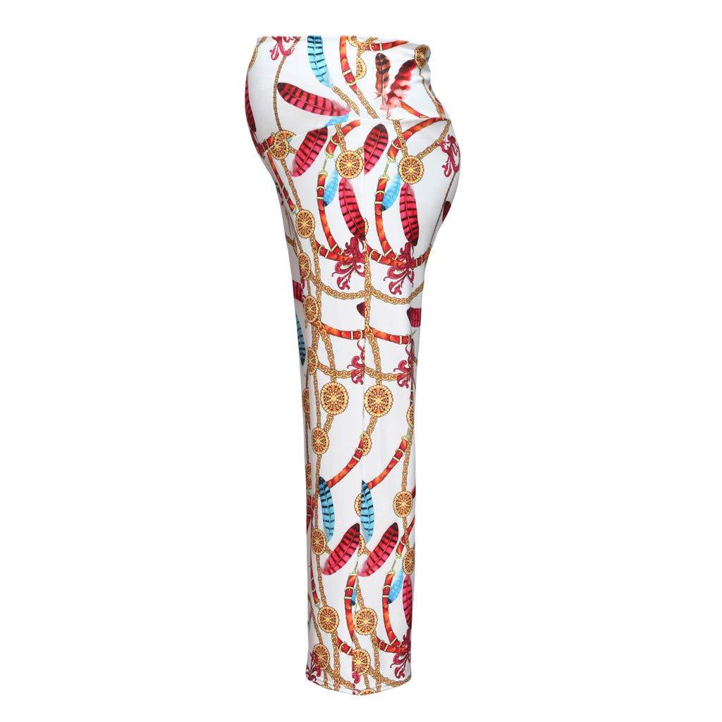 RISTHY Pantalones Largos Premam/á con Estampado Pantalones Anchos de Piernas Anchas Bohemia Holgados Pantal/ón de Playa de Dormir para Barriga Mujer Embarazada Maternidad