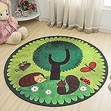 HOMEE Nordic style folk-custom round non-slip carpet cartoon child mat living room bedroom room bedside basket foot pad,2-80Cm
