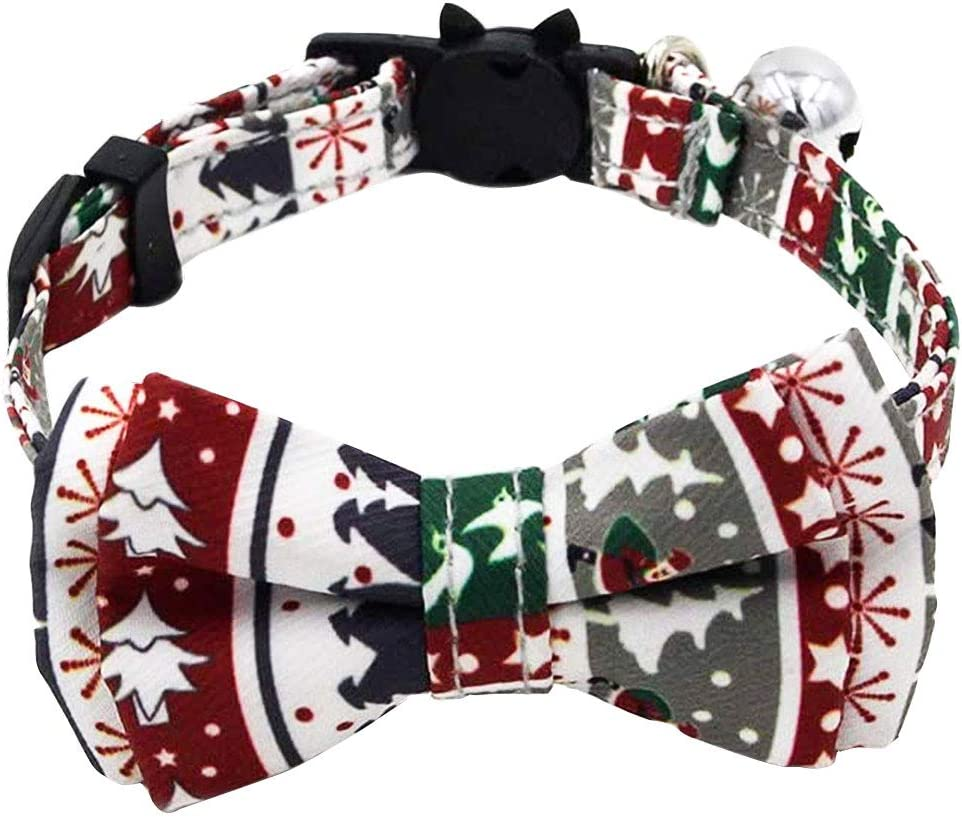 kuou Christmas Cat Collars Christmas tree Adjustable 17-27cm with Bell Safety Release and Cat Collar Bow tie for Kitty and Small Pets Puppy