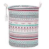 Sea Team Foldable Large Cylindric New Bohemia Style Canvas Fabric Storage Bin Storage Basket Organizer, Laundry Hamper for Blouse T-shirt Underwear etc.