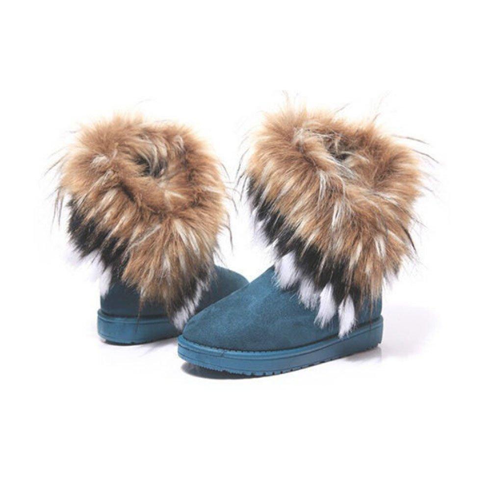 Women Winter Warm High Long Snow Ankle Boots Faux Fox Rabbit Fur Tassel Shoes