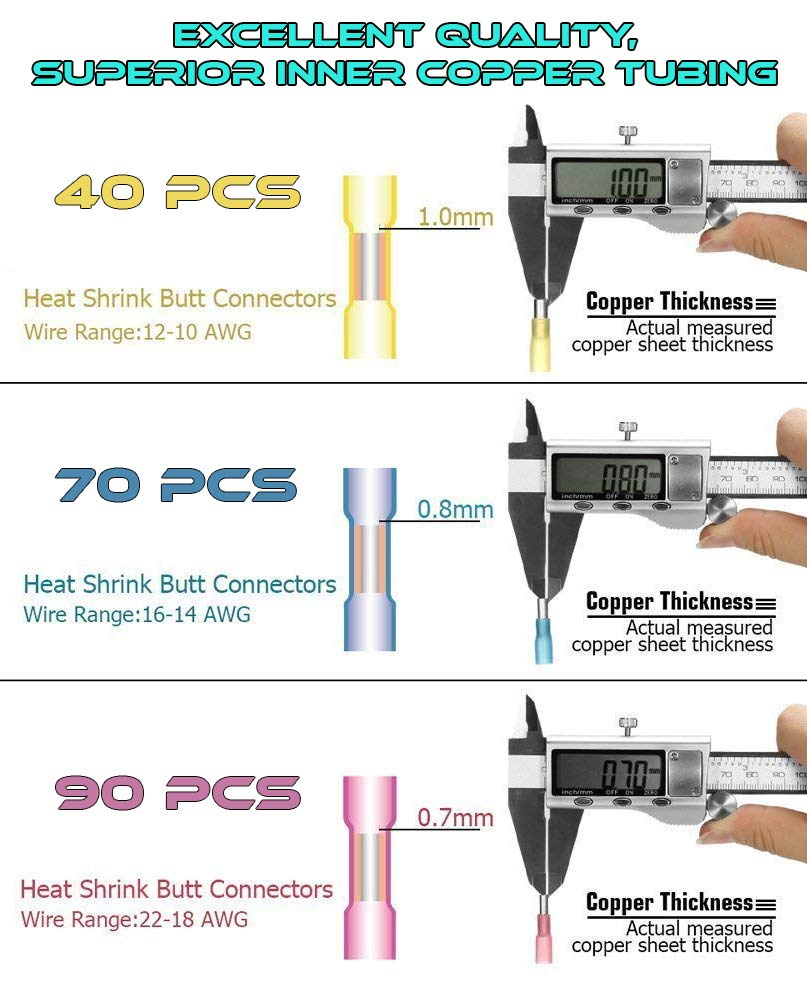 200pc Heat Shrink Butt Connectors 3 Colors // 3 Sizes Copper Core Waterproof Electrical Wire Terminals Kit Insulated Marine or Automotive Set 10-22 AWG Wire Connector Kit