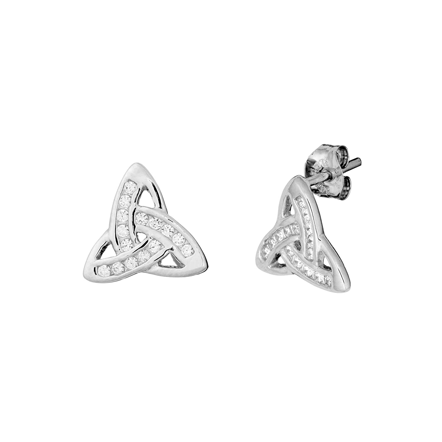 Nickel Free 925 Sterling Silver Crystal Celtic Trinity Knot Stud Earrings 1823 Choose Your Color!