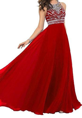 Tidetrend Women A-line Long Chiffon Prom Dress Formal Evening Gown
