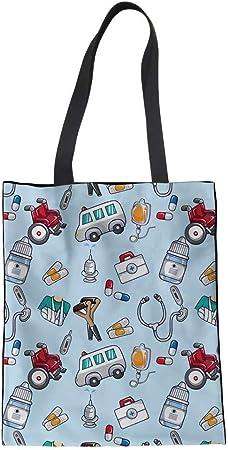 POLERO Bolsa de la compra de lona de algodón, bolsa de la compra, bolsa de tela de algodón con dibujos animados, estampado para niña, mujer, enfermera, trabajo diario (negro), azul-2, 42x34cm: Amazon.es:
