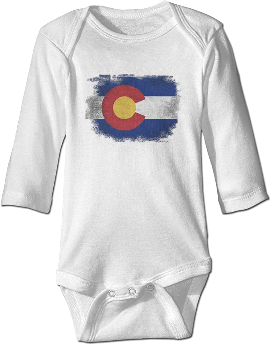 Marsherun Newborn Baby Girl Boy Vintage Colorado Flag Long-Sleeve Bodysuit Clothes Playsuit