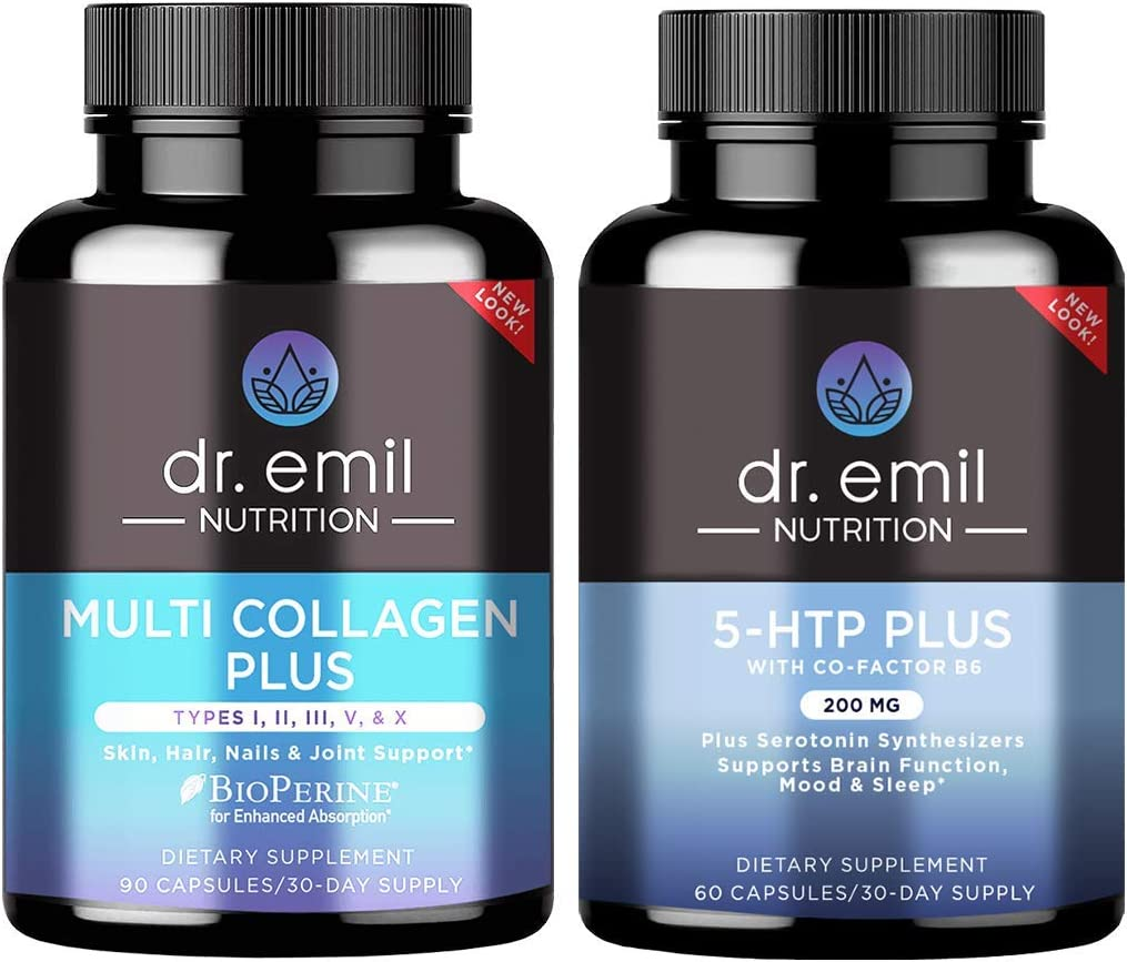 Dr. Emil Nutrition Mind & Body Bundle - Multi Collagen Plus and 200mg 5-HTP Serotonin Synthesizers and Cofactor B6