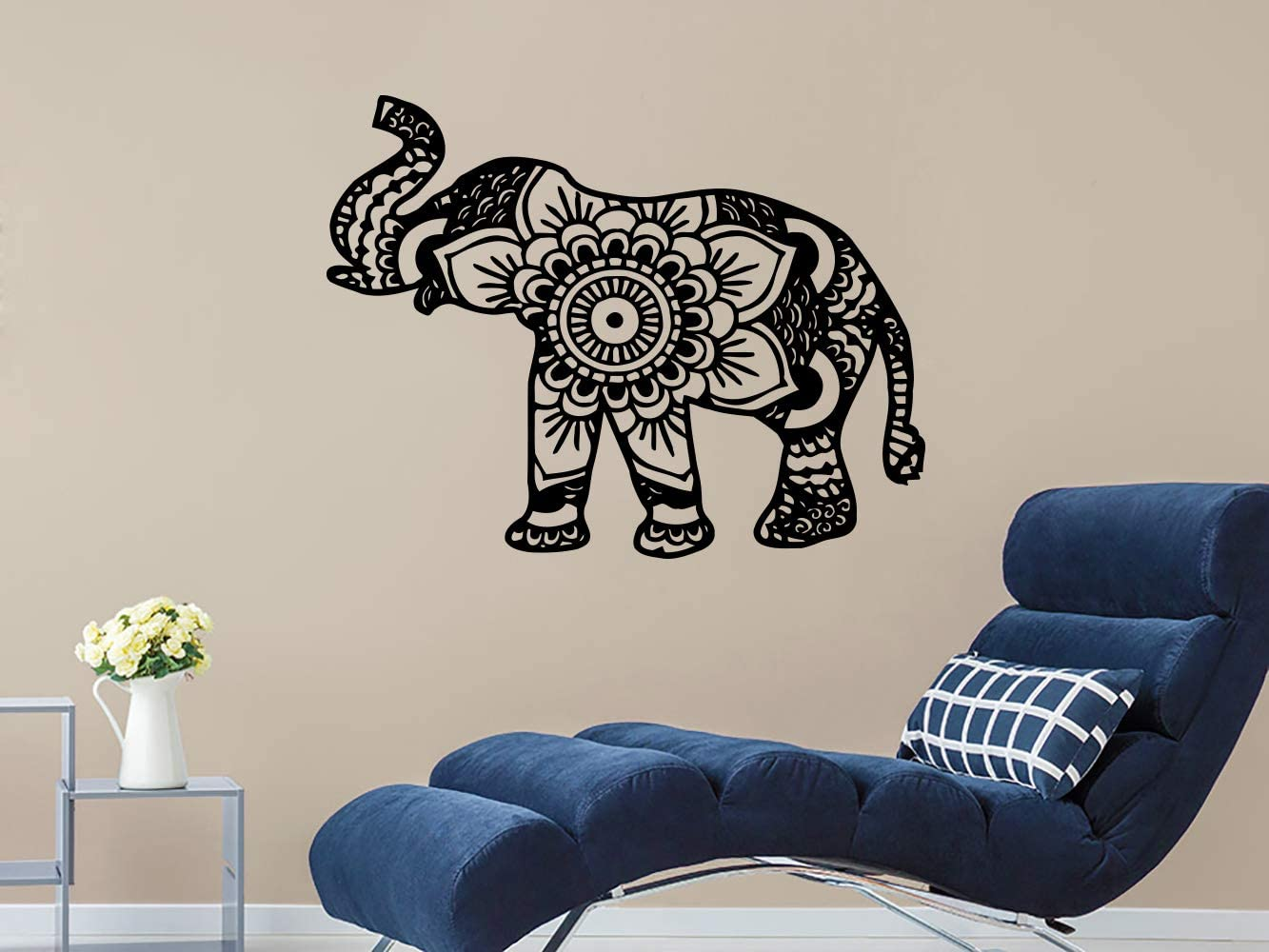 Wall Decal Elephant Vinyl Sticker Decals Lotus Indian Elephant Floral Patterns Mandala Tribal Buddha Ganesh Om Home Decor Bedroom Art Design Interior NS384