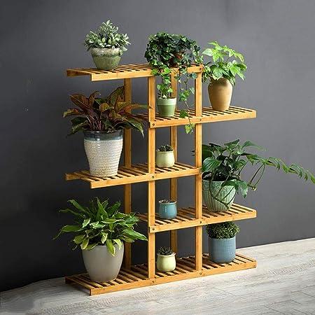 LYN-MEMORY Escalera para Plantas, Estante de Almacenamiento de Estante de exhibición de Plantas de Flores Multicapa de bambú for Dentro y Fuera del hogar (Size : 5 Tier): Amazon.es: Hogar