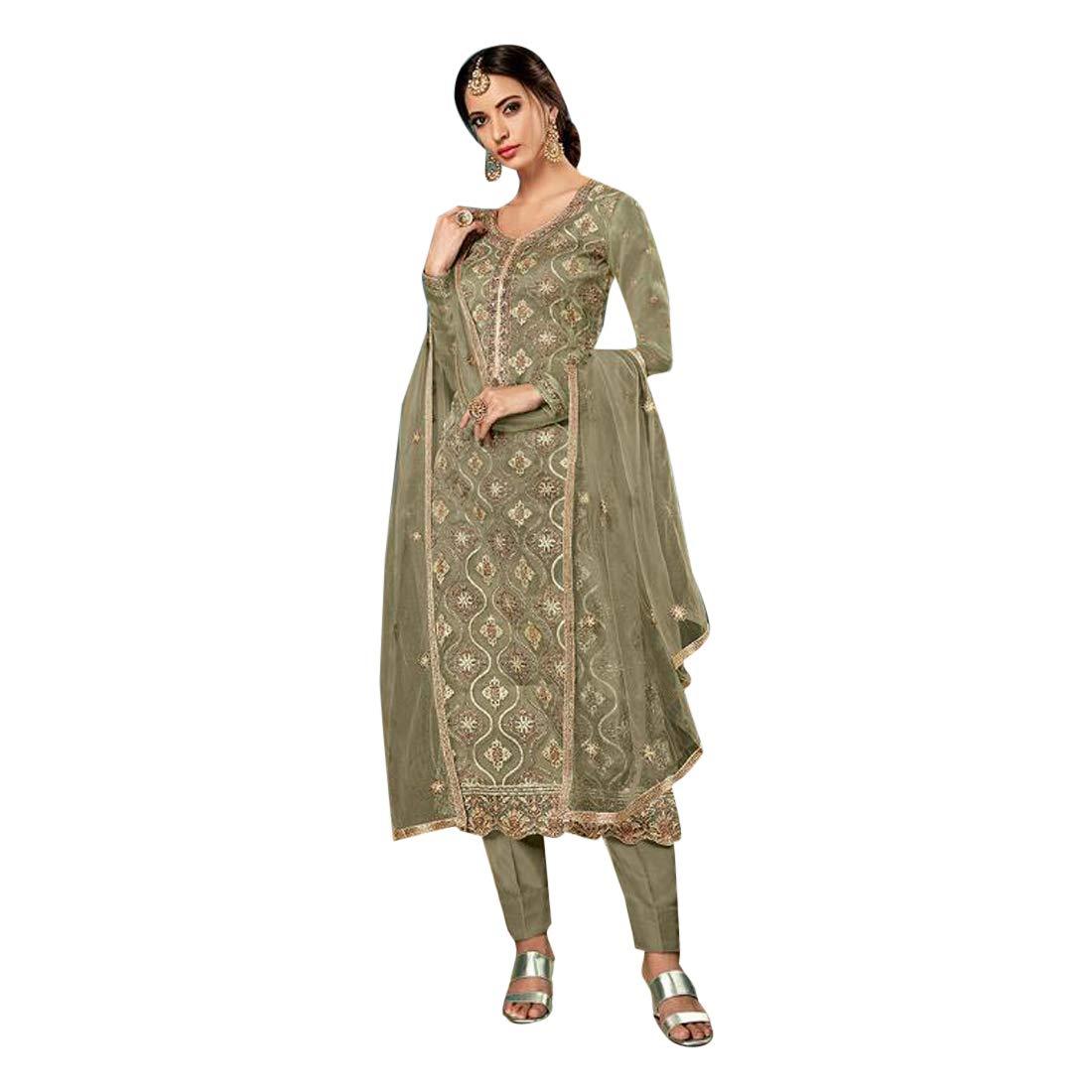 Khaki Designer Silk Embroidered Salwar Kameez suit for Women Indian Muslim Party wear 7525
