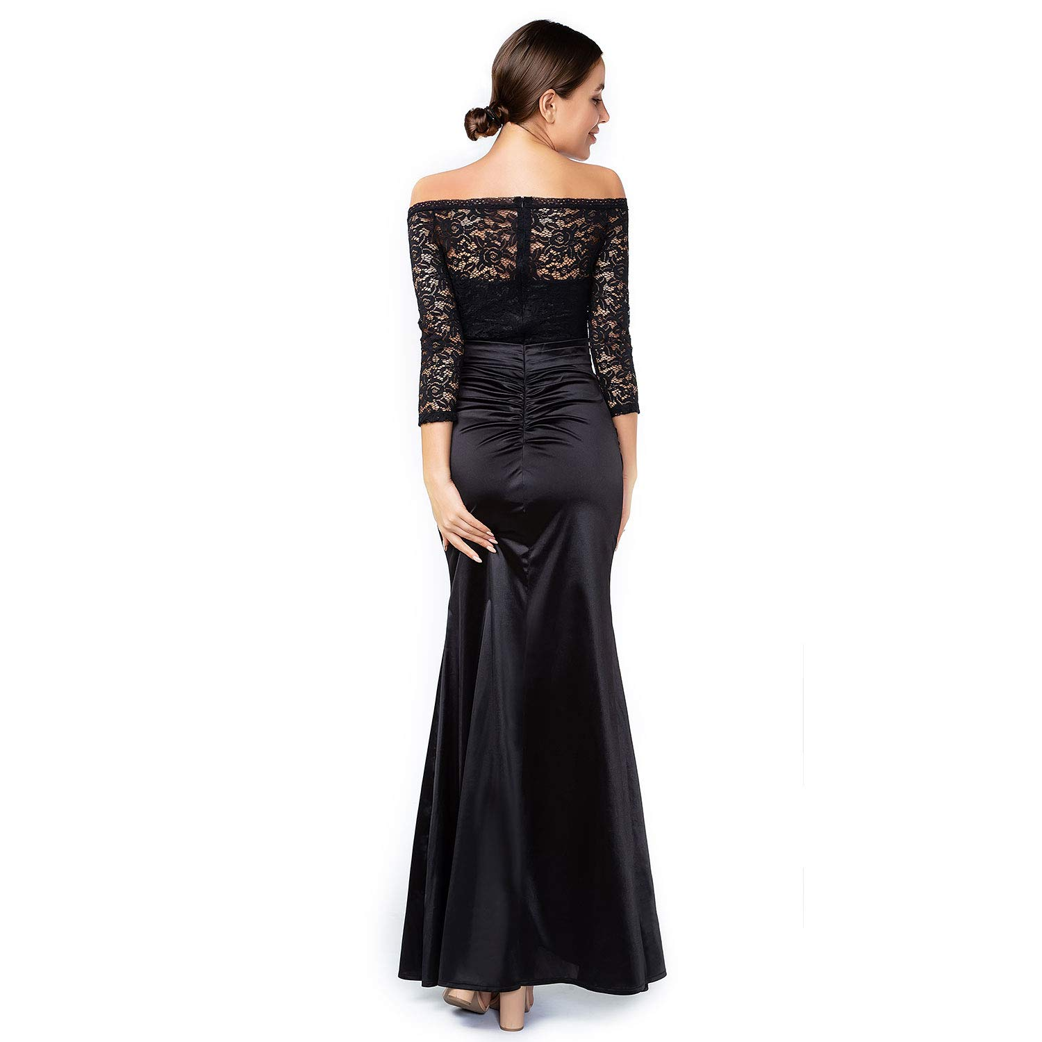 38716fcea591 Amazon.com: Sirhao Maxi Vintage Black Long Sleeve Dress for Women Floral  Lace: Clothing