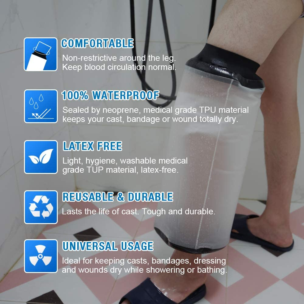 【2020 Newest】Waterproof Knee Cast Cover for Shower, Knee Wound Protector for Shower Bath, Reusable Bandage Protector Dressing Cover with Watertight Seal for Knee, Elbow and Leg: Health & Personal Care