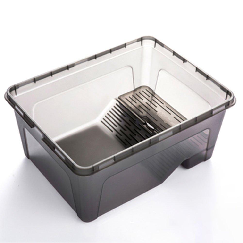 Meiyiu Plastic Turtle Feeding Box Terrapin Food Bowl with Detachable Bask Platform Black L