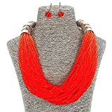 Fashion Jewelry Set Girls Party Orange Beads Short Collar Necklace For Women