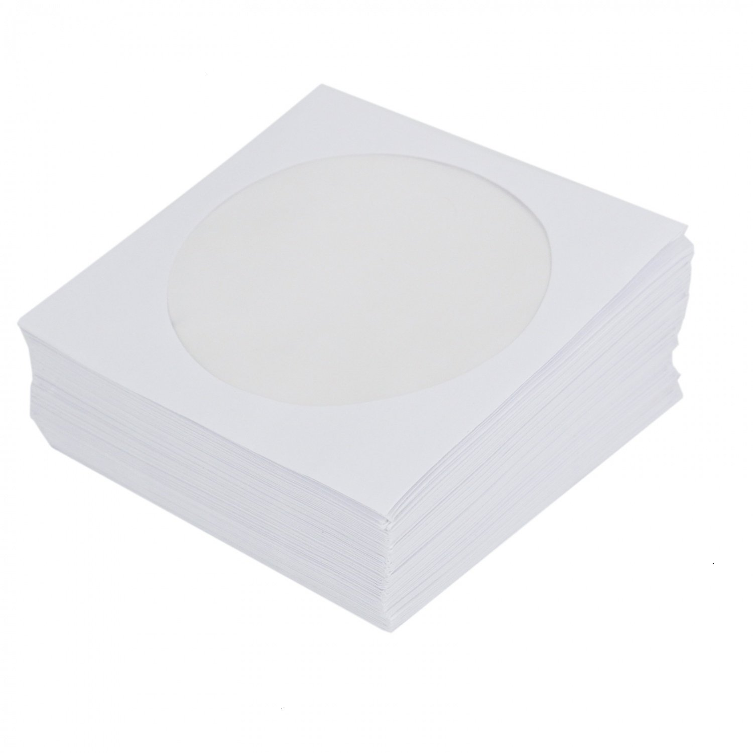 TOPMO 100 PCS Paper CD DVD White Sleeves Envelope with Clear Window