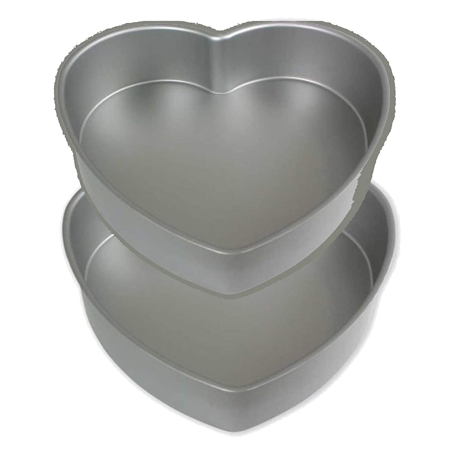 set of 2 set of two same size Heart shape anodises aluminium Baking Tins 6 inch,wide and 2 inch deep Set of 2 PME HRT 6x 2 deep