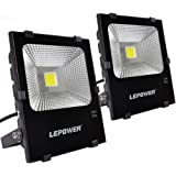 LEPOWER 2 Pack 50W New Craft LED Flood Light, Super Bright Outdoor Work Light With Plug, 250W Halogen Bulb Equivalent, IP66 Waterproof, 4000lm, 6500K, Outdoor Led Lights (White Light)