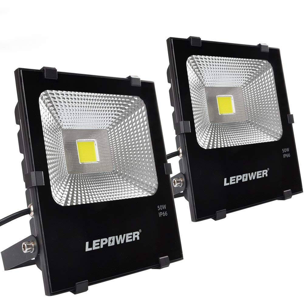 LEPOWER 50W LED Flood Light 2 Pack, Super Bright Outdoor Work Light With Plug, 250W Halogen Bulb Equivalent, IP66 Waterproof, 4000lm, 6000K, Outdoor Led Lights (White Light) by LEPOWER