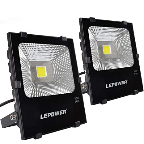 Lepower 50w Led Flood Light 2 Pack Super Bright Outdoor Work Light With Plug 250w Halogen Bulb Equivalent Ip66 Waterproof 4000lm 6000k Outdoor