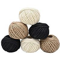 Liwein Jute touw 2mm, 6 rollen 50M natuurlijke jute string tuin jute touw voor ambachten DIY scrapbooking bruiloft kaart…