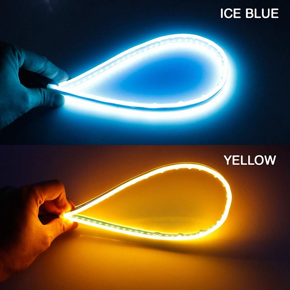 2X Auto Blinker Ultrafein 30cm 45cm 60cm DRL Flexibles weiches LED Streifen Licht Blinker Lampen Tagfahrlicht Tear Strip Autoscheinwerfer Blau Wird gelb,60cm
