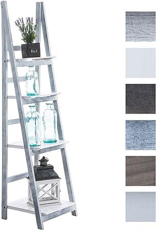CLP Estantería Librería Alma Hecha De Madera I Estantería Multiusos De 4 Niveles I Estantería Decorativa Plegable I Color: Blanco-Gris: Amazon.es: Hogar
