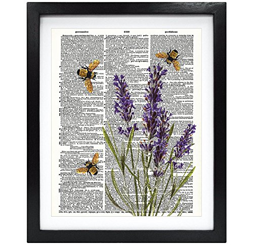 Susie Arts 8X10 Unframed Bees with Lavender flowers Upcycled Vintage Dictionary Art Print Book Art Print Home Decor Funny Prints V103