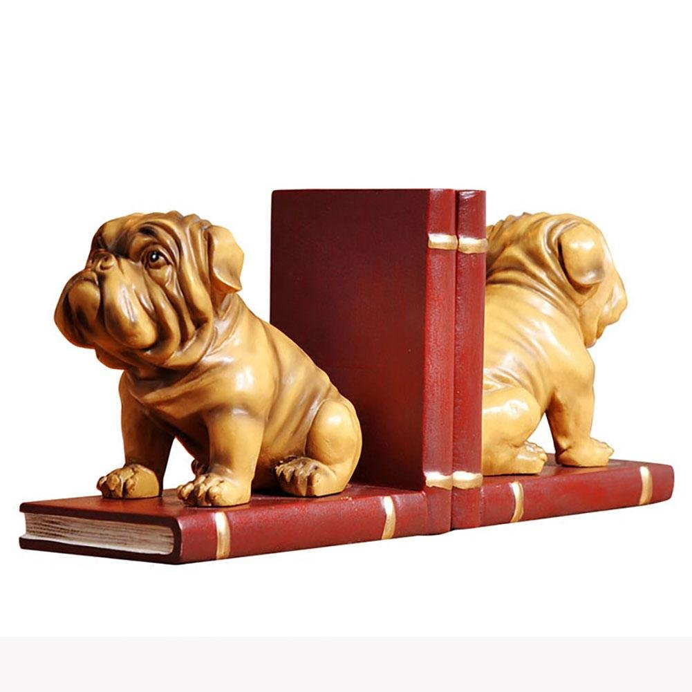 LPY-Set of 2 Bookends Resin Pugs Style Handicrafts, Book Ends for Office or Study Room Home Shelf Decorative