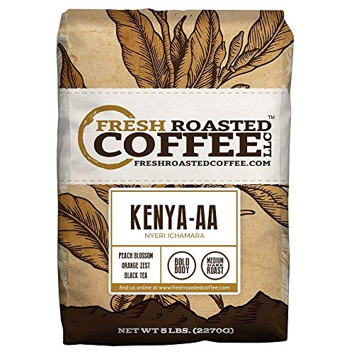 Fresh Roasted Coffee LLC, Kenya AA Nyeri Ichamara Coffee, Medium-Dark Roast, Whole Bean, 5 Pound Bag