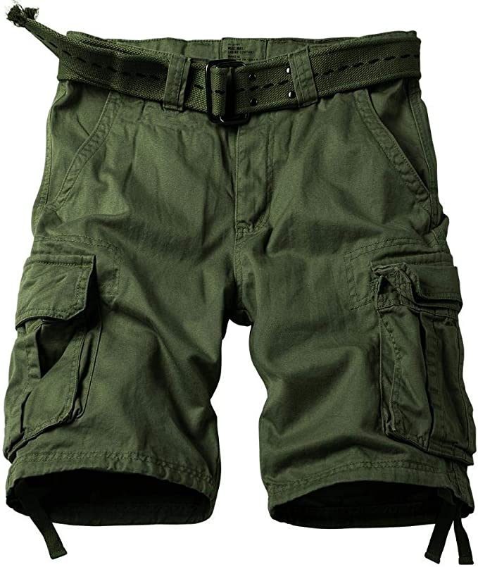Men Shorts Fishing Style Cotton Solid Color Camping Cargo Pockets Army Trade
