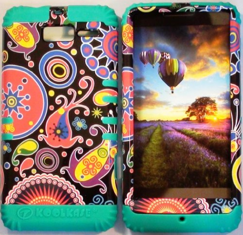 Cellphone Trendz (TM) Hybrid High Impact Bumper Case Colorful Mystery Tribe Aztec Tribal / Teal Silicone for Motorola DROID RAZR M (XT907, 4G LTE, Verizon)