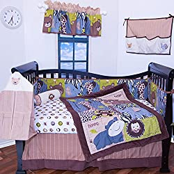 12 Piece Boy's Designer Crib Bedding Nursery Set JUNGLE SAFARI, giraffe