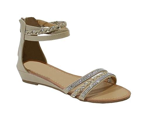 By Shoes Sandale Plate Style Cuir avec Bijoux - Femme  Amazon.fr   Chaussures et Sacs 877cf14036a2