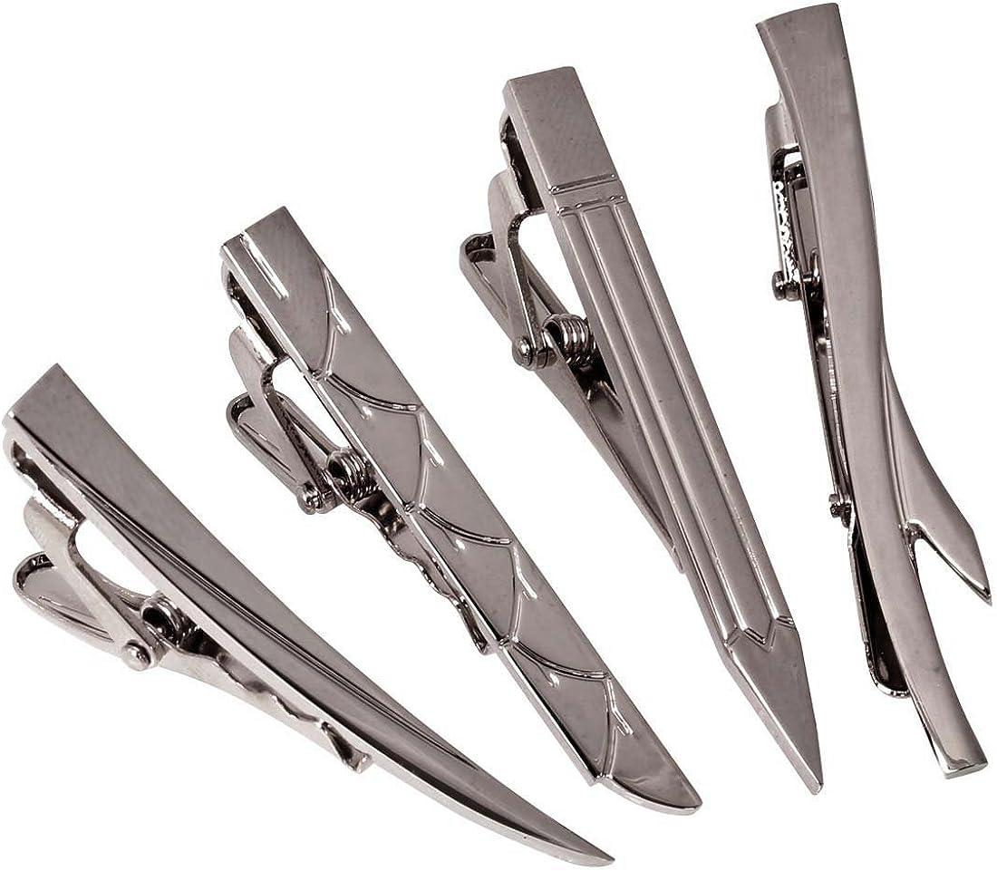 b.m.c BMC Mens 4pc Stainless Steel Mixed Design Random Themed Tie Clip Set