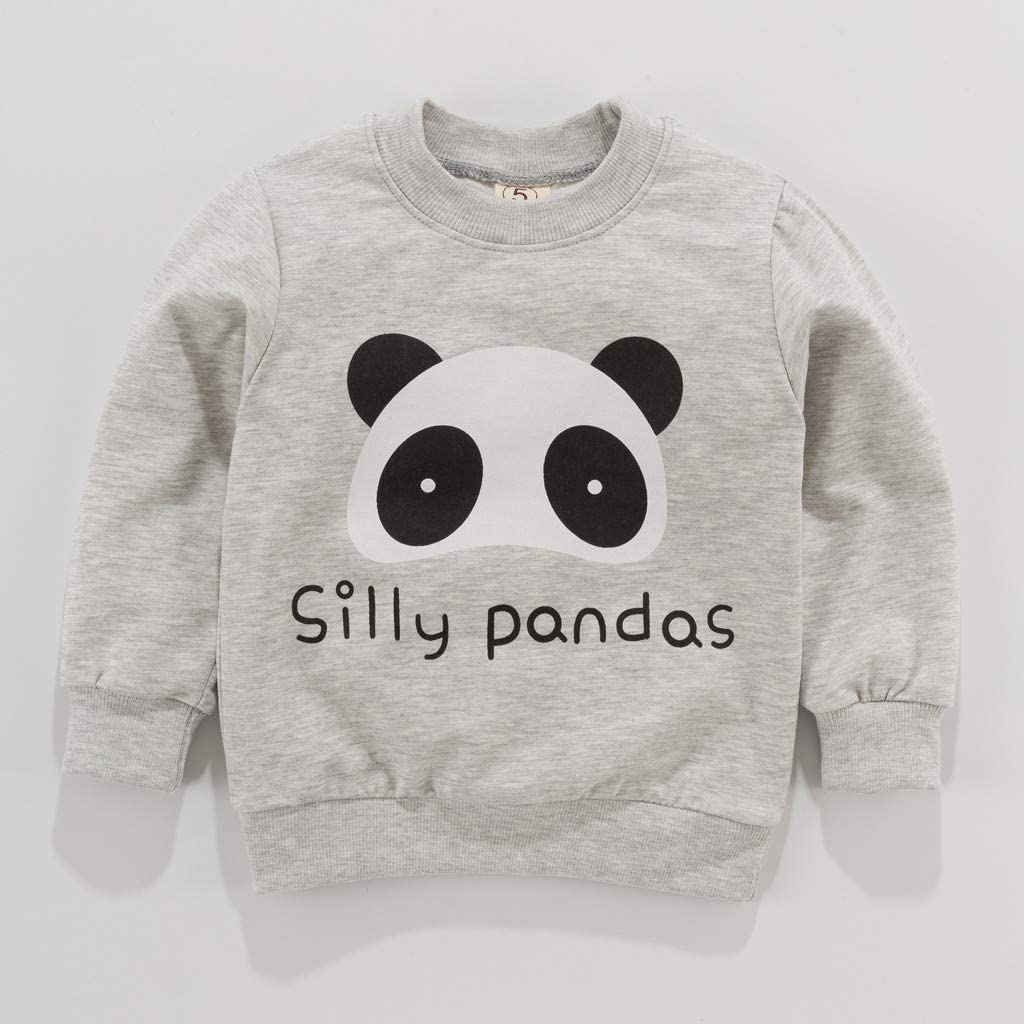 HEETEY Toddler Kid Baby Girl Boy Tops Long Sleeve Cartoon Printed T-Shirt Crop Tops Kids Casual Outfits Outwear Sweatshirt Kids Boys Colourful
