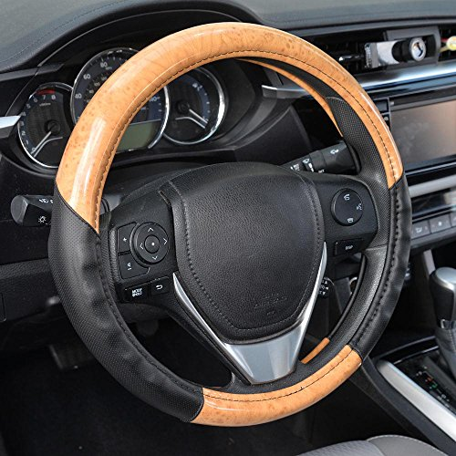 BDK Compatible with ACDelco Steering Wheel Cover (2Tone – Light Maple Wood)