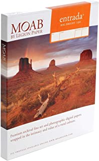 "product image for Moab Entrada Rag Fine Art, 2-Side Bright White Matte Inkjet Paper, 15.5 mil, 190gsm, 11x17"", 25 Sheets."