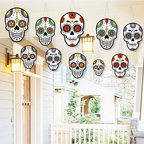 Hanging Day of The Dead - Outdoor Hanging Decor - Halloween Party Decorations - 10 Pieces]()