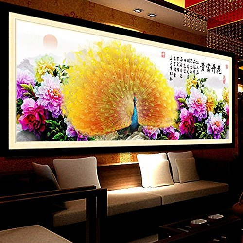 Cross stitch, peacock, flower, Chinese style,