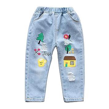 Doitsa Jeans para Niños Niña Pequeña 3 4 5 6 7 8 Años de Edad, Vaqueros Suelto Moda Casual Ropa de Primavera y Verano con Lindos Patrones: Amazon.es: Hogar