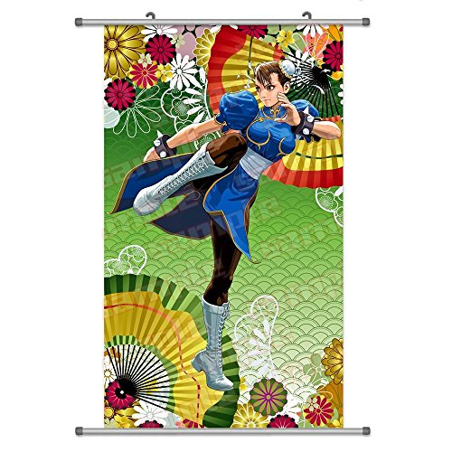 A Wide Variety of Street Fighter Anime Characters Wall Scroll Hanging Decor (Chun Li 2) (Chun Li Anime)