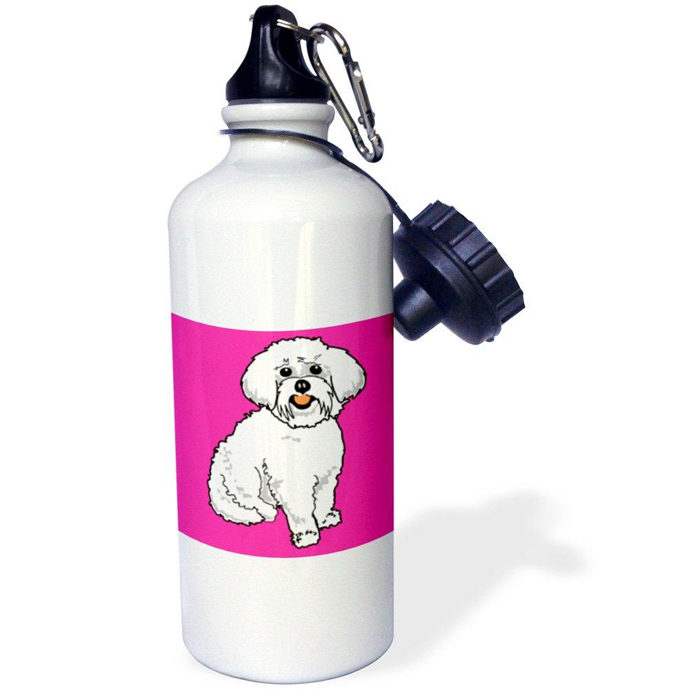 3dRose wb_117471_1 ''Cute Retro Style Cartoon Maltese Puppy Dog Pet Animal On Pink'' Sports Water Bottle, 21 oz, White