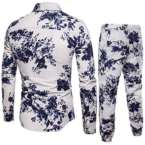 2 Pieces Tracksuit Men Slim Fit Suit for Men Print Blouse Top+Pants White