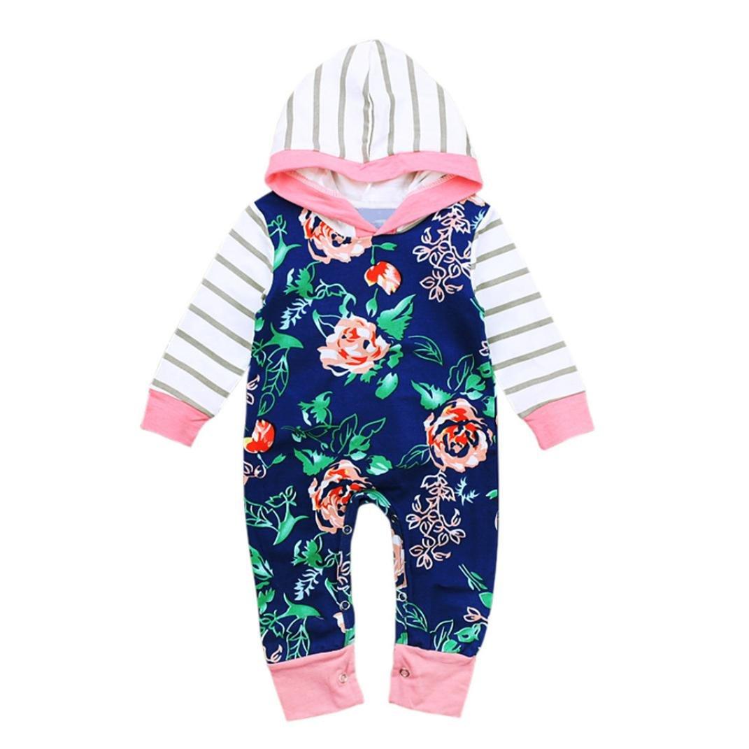 Hirolan Neugeborene Kapuzenpullover Strampler Säugling Jungen Babykleidung Walkoverall Mädchen Blumen Streifen Overall Ausgefallene Festliche Kinderkleider Outfits Kleider