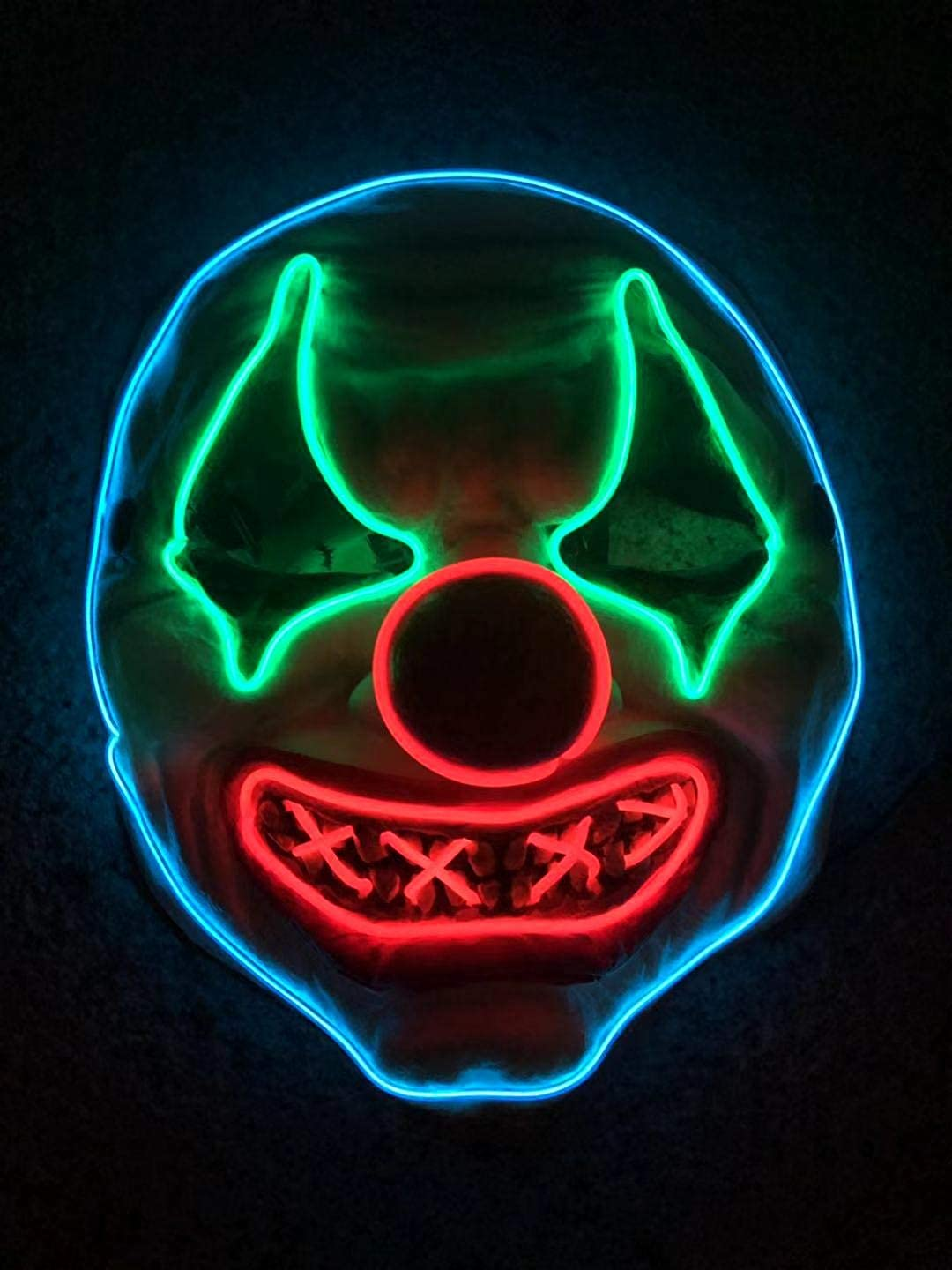 Blue,Green /& Red Lighting 2SupMask Halloween Clown Mask Light Up,Creepy Scary Funny Clown Rubber Night Glow El Masks Party Cosplay