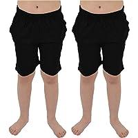 CityComfort Conjunto 2 Pantalones Cortos para niños | Paquete Doble en Azul Marino y carbón o Gris y Negro con Bolsillos…