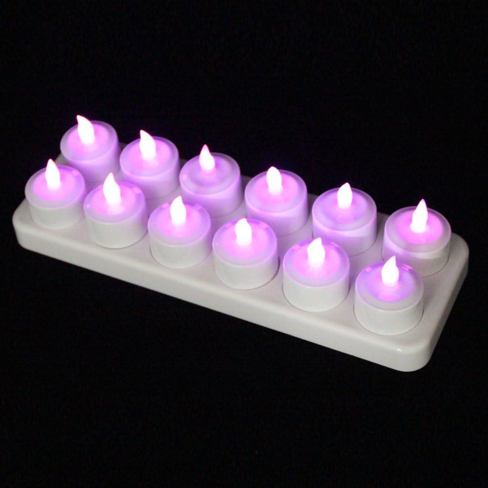 EuroFone Flameless LED Teelicht Kerze wiederaufladbare LED Kerzen mit Cup 12pcs (Warm white with remote) Purple