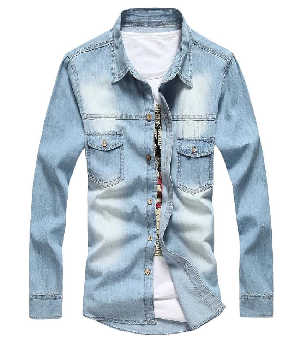 RDHOPE-Men Comfort Soft Washed Pocket Button Cowboy Shirt Blouse Tops