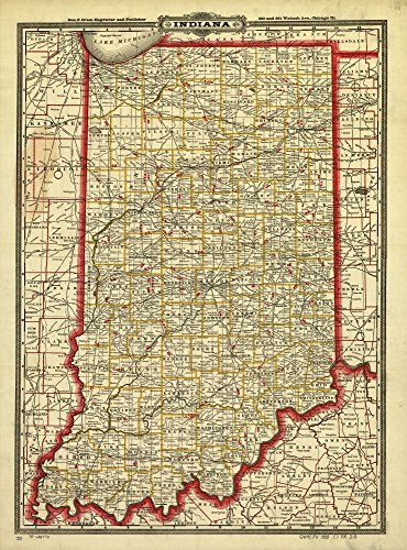 Vintage 1888 Map of Cram's township and rail road map of Indiana. Indexed township and county map showing relief by hachures, drainage and cities and towns. Railroads are distinguished by color. Indiana, United (County Indiana Map)