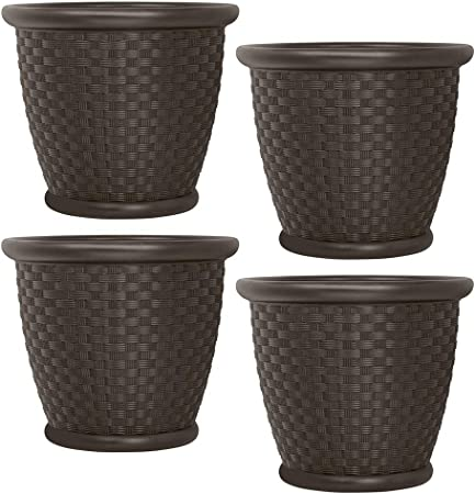 2-Pack Planter 18 in Large Plant Pot Round Java Blow Durable Molded Resin Brown